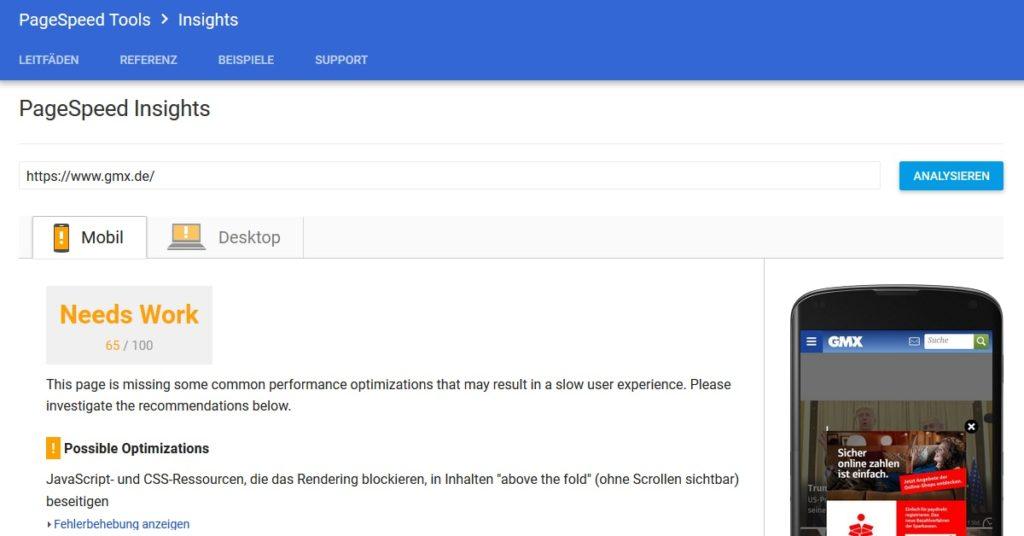 Das Google PageSpeed Tool